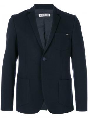 Однобортный пиджак классического кроя Dirk Bikkembergs. Цвет: синий