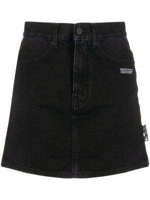 Джинсовая юбка мини с логотипом Off-White. Цвет: черный