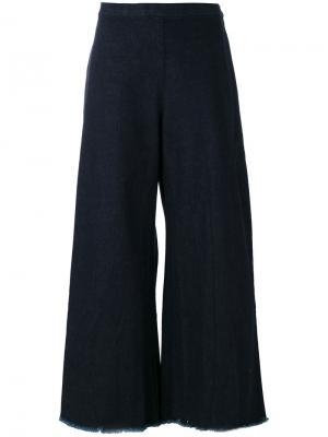Широкие укороченные джинсы с бахромой Simon Miller. Цвет: синий