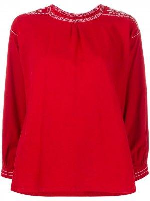 Блузка 1970-х годов с контрастной вышивкой A.N.G.E.L.O. Vintage Cult. Цвет: красный