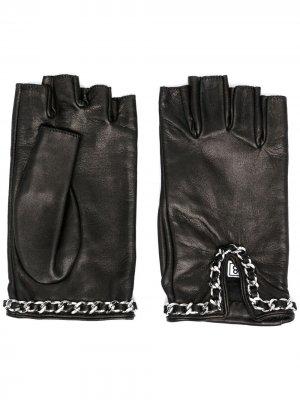 Перчатки-митенки с цепочками Manokhi. Цвет: черный