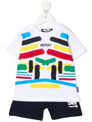 Спортивный костюм с логотипом Cesare Paciotti 4Us Kids. Цвет: белый