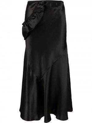Юбка миди с оборками Simone Rocha. Цвет: черный