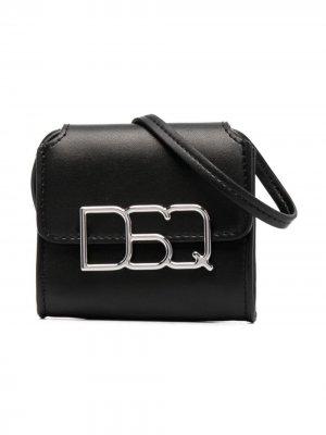 Сумка на плечо с логотипом Dsquared2 Kids. Цвет: черный