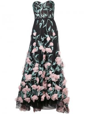 Long floral dress Marchesa Notte. Цвет: синий