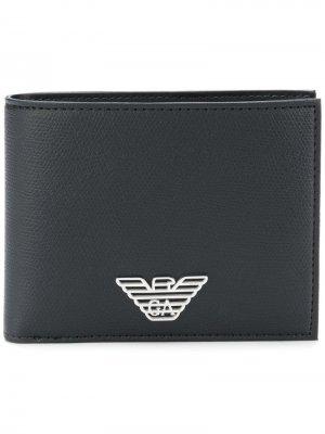 Бумажник с логотипом Emporio Armani. Цвет: черный