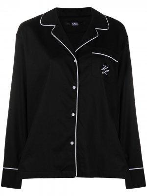 Пижамные брюки с вышитым логотипом Karl Lagerfeld. Цвет: черный