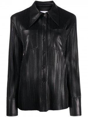 Рубашка с мелкой плиссировкой Nanushka. Цвет: черный