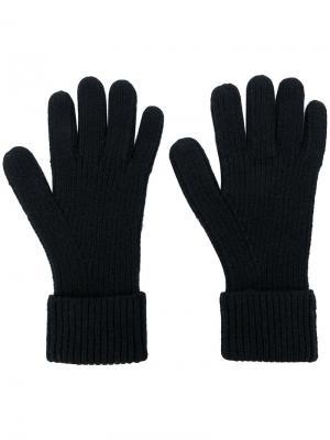 Перчатки в рубчик N.Peal. Цвет: черный
