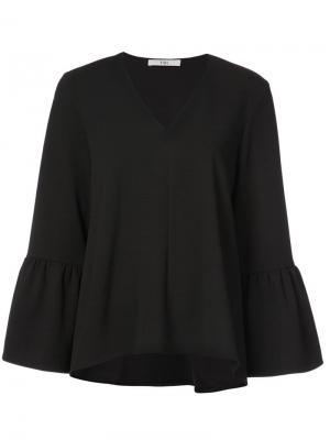 Блузка с V-образной горловиной и рукавами оборками Tibi. Цвет: черный