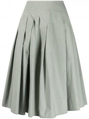 Плиссированная юбка асимметричного кроя Alysi. Цвет: зеленый