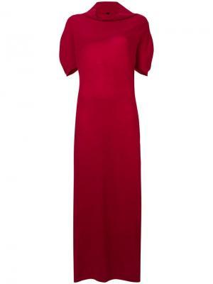 Вязаное платье с короткими рукавами UNRAVEL PROJECT. Цвет: красный