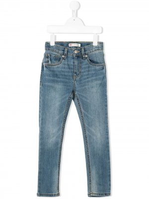Levis Kids джинсы скинни с эффектом потертости Levi's. Цвет: синий