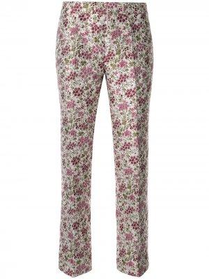 Расклешенные брюки с цветочным принтом Giambattista Valli. Цвет: розовый