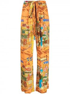 Прямые брюки с графичным принтом alessandro enriquez. Цвет: оранжевый