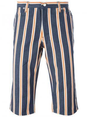 Полосатые джинсовые шорты Walter Van Beirendonck Vintage. Цвет: синий
