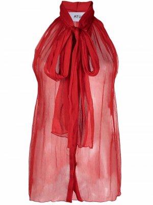 Полупрозрачная блузка Atu Body Couture. Цвет: красный