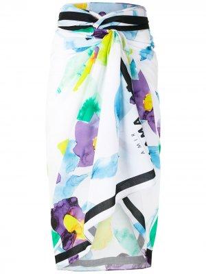 Юбка-саронг с абстрактным цветочным принтом Amir Slama. Цвет: белый
