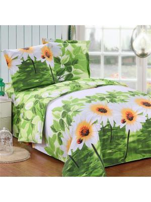 Постельное белье Flora Семейный Amore Mio. Цвет: белый, желтый, зеленый