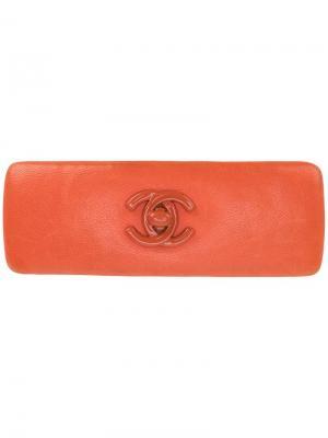 Заколка для волос с логотипом CC Chanel Vintage. Цвет: желтый
