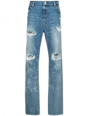 Прямые джинсы с рваными деталями Red Card. Цвет: синий