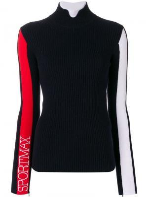 Turtleneck logo sleeve sweater Sportmax. Цвет: синий