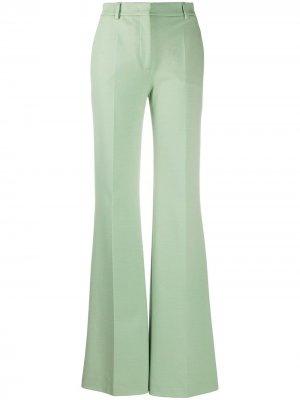 Расклешенные брюки с завышенной талией и складками Alberta Ferretti. Цвет: зеленый