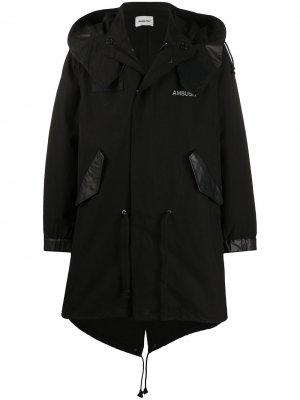 Пальто свободного кроя с капюшоном AMBUSH. Цвет: черный