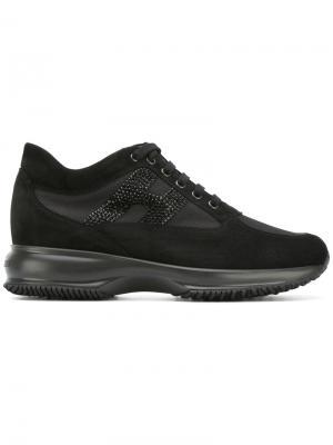 Кроссовки на шнуровке Hogan. Цвет: черный
