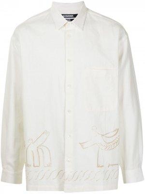 Рубашка Baou с принтом Jacquemus. Цвет: белый