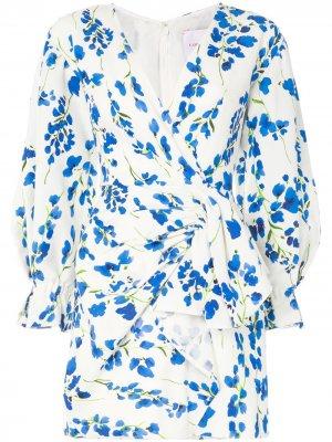 Платье мини с запахом и цветочным принтом Carolina Herrera. Цвет: белый