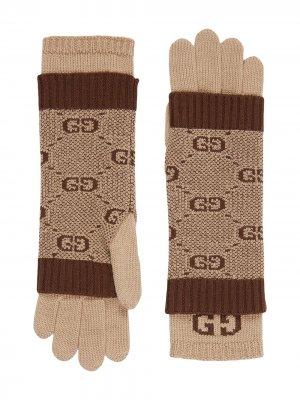 Перчатки GG Gucci Kids. Цвет: коричневый