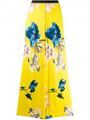 Брюки широкого кроя с цветочным принтом Antonio Marras. Цвет: желтый