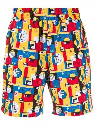 Плавки-шорты Kaeo с абстрактным принтом Fila. Цвет: желтый
