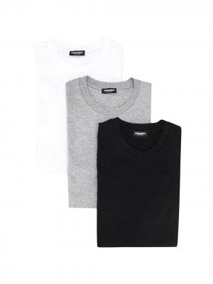 Набор из трех футболок с круглым вырезом и логотипом Dsquared2. Цвет: черный