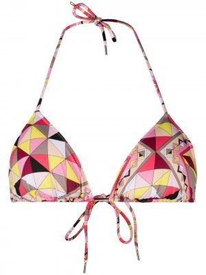Лиф бикини Bes с треугольными чашками и геометричным принтом Emilio Pucci. Цвет: розовый
