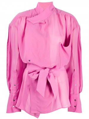 Рубашка оверсайз с завязками Mugler. Цвет: розовый