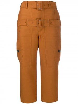 Укороченные брюки с двойным поясом LANVIN. Цвет: оранжевый