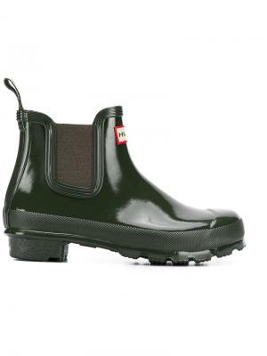 Непромокаемые ботинки челси Hunter. Цвет: зеленый
