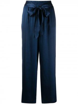 Атласные брюки с поясом Gold Hawk. Цвет: синий