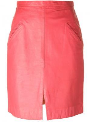 Кожаная юбка Stephen Sprouse Vintage. Цвет: розовый