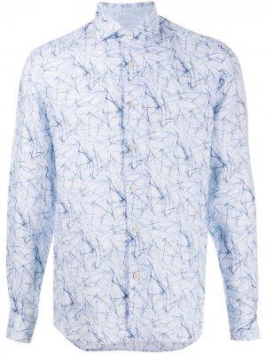 Рубашка с абстрактным принтом Corneliani. Цвет: синий