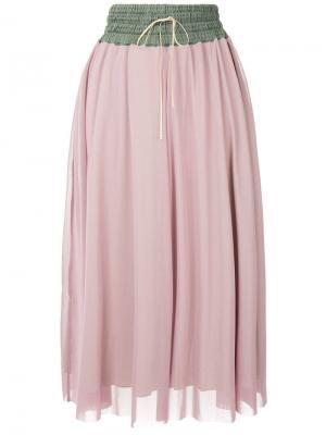 Сетчатая юбка-миди Tu Es Mon Trésor. Цвет: розовый