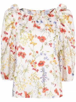 Блузка с цветочным принтом Sara Roka. Цвет: белый