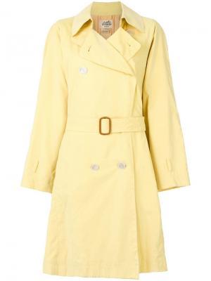 Тренч с поясом Hermès Vintage. Цвет: желтый
