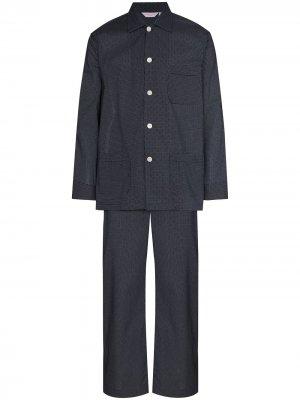 Пижама в горох Derek Rose. Цвет: синий