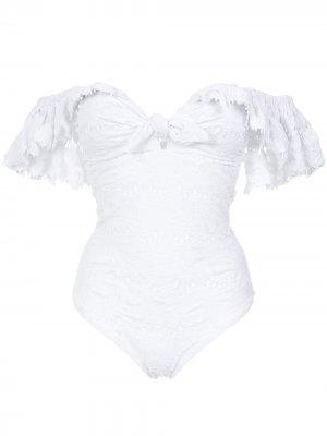 Texture ruffled swimsuit Amir Slama. Цвет: белый