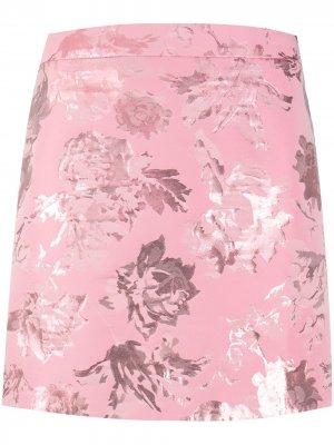 Юбка мини с цветочным узором Stine Goya. Цвет: розовый