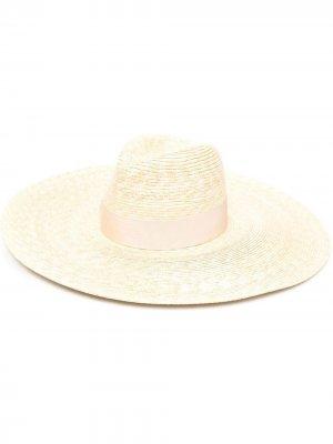 Соломенная шляпа с широкими полями Borsalino. Цвет: нейтральные цвета