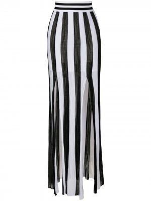 Трикотажная юбка в полоску Balmain. Цвет: белый